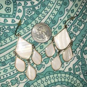 Pearly & gold fishhook earrings